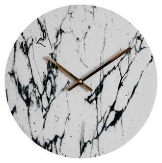 "11"" Marbleized Wall Clock, White - One Kings Lane"
