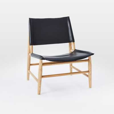 Leather Sling Chair - Black - West Elm