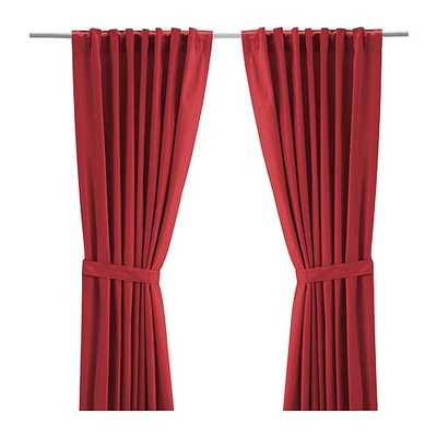"RITVA Curtains with tie-backs - 1 pair - Red - 57"" x 98"" - Ikea"
