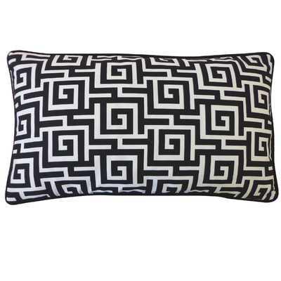 "Puzzle Outdoor Lumbar Black Pillow-12"" H x 20"" W- Fiber insert - Wayfair"