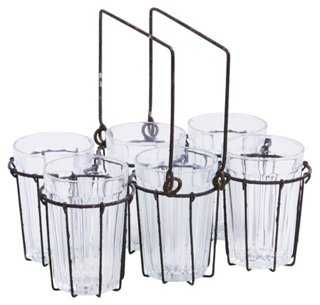 S/6 Glasses with Wire Rack - One Kings Lane