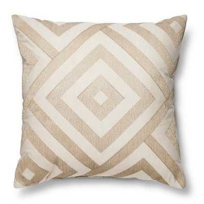 "Metallic Diamond Neutral Throw Pillow - 18""L x 18""W - Polyester fill - Target"