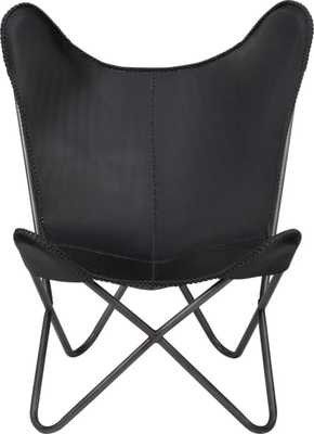 1938 black leather butterfly chair - CB2