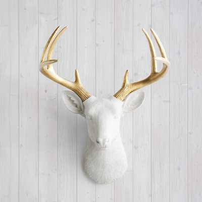 """Wall Charmersâ""""¢ Deer in White + Gold Antler - Faux Head Fake Animal Resin Ceramic Taxidermy Mounted - Etsy"""