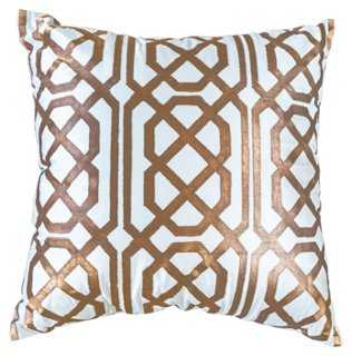 Jagger 22x22 Silk Pillow, Copper feather/down insert - One Kings Lane