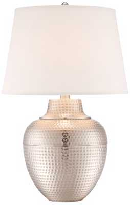 Brighton Hammered Pot Brushed Nickel Table Lamp - Lamps Plus