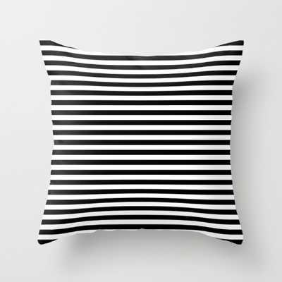 "Black and White Stripes Pillow - 18"" x 18"" - Down Insert - Society6"