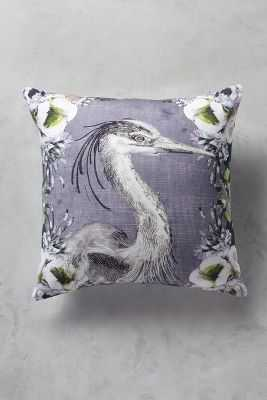 "Heron Portrait Pillow - Blue Motif - 18""x18"" - Poly fill insert - Anthropologie"