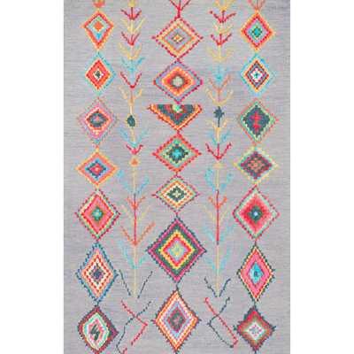 nuLOOM Contemporary Handmade Wool/ Viscose Moroccan Triangle Grey Rug (8'6 x 11'6) - Overstock