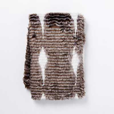 Faux Fur Spotted Stripe Throw - West Elm