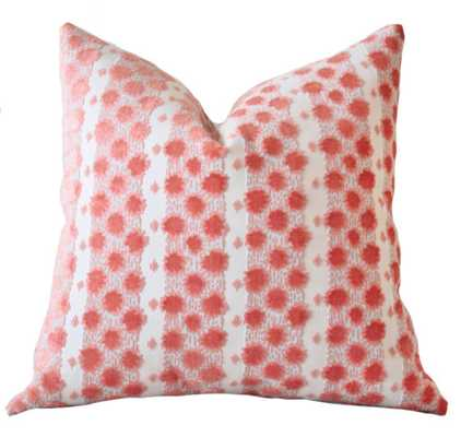 "Designer Coral Pillow - Salmon Peach Aqua - 20"" x 20"" - Insert sold separately - Etsy"