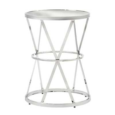 INSPIRE Q Berke Mirrored Top Round End Side Table - Overstock
