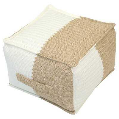 Outdoor Woven Pouf - Natural & Cream - Target