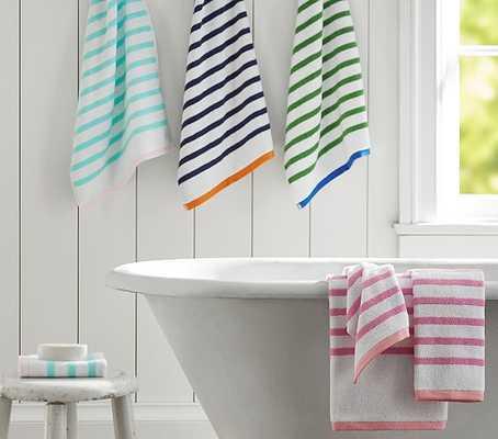 Breton Stripe Bath Towel Collection, Hand Towel, Aqua/Pink - Pottery Barn Kids