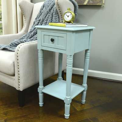 Everly 1 Drawer End Table - Antique Iced Blue - Wayfair