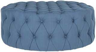 Rosie Tufted Ottoman, Blue - One Kings Lane