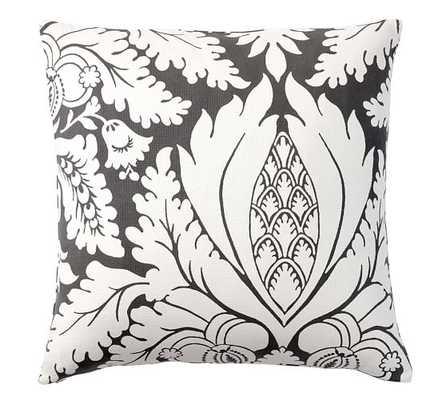 Damask Print Pillow Cover - Ebony, 24x24, No Insert - Pottery Barn