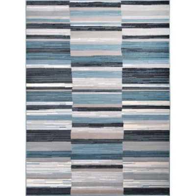 Cambridge Blue/Grey Striped Area Rug - Overstock