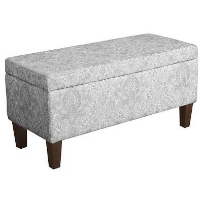 Homepop Blue Slate Collection Storage Bench - Gray And Light Blue Large Damask - Target