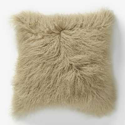 "Mongolian Lamb Pillow Cover - Pebble (16"" Sq.) - Insert sold separately - West Elm"