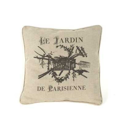 "French Inspired Linen Throw Pillow - Off-White - 18"" H x 18"" W (No Insert) - Wayfair"