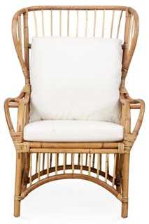 Susanna Rattan Wingback Chair, Honey - One Kings Lane