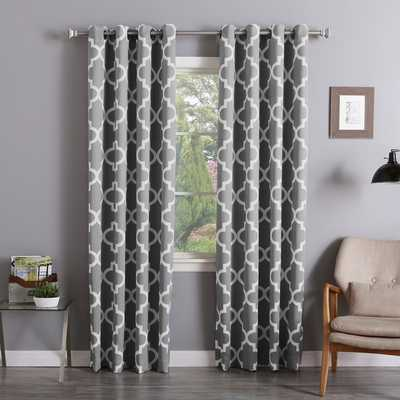 Aurora Home Moroccan Tile Room-Darkening Curtain Panel Pair - grey - Overstock