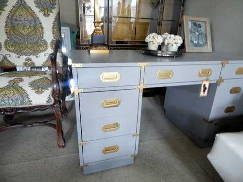 Campaign Desk Vintage Painted Grey Gold Glass Top - Etsy