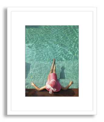 """Woman Resting at Edge of Swimming Pool-24""""x20""""-Framed - Domino"""