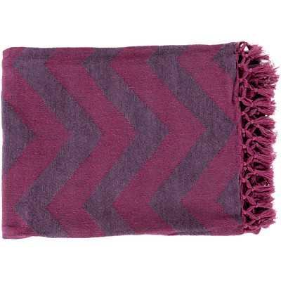 Thacker Cotton Throw Blanket - Mauve/Plum - Wayfair