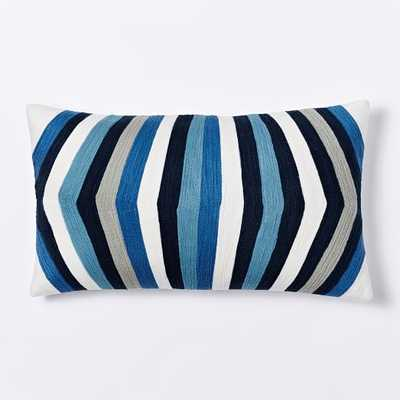 """Crewel Optic Stripe Pillow Cover - 12""""w x 21""""l - Nightshade- Insert sold separately - West Elm"""