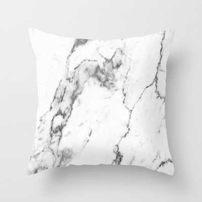 """White Marble I- 20""""x 20"""" with pillow insert - Society6"""