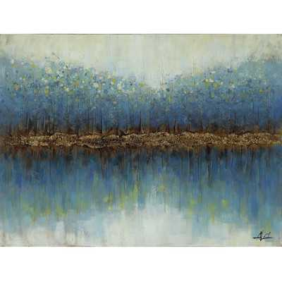 """Yosemite Home Decor Teal Time Painting on Wrapped Canvas - 35.4"""" H x 59"""" W x 1"""" D - Unframed - Wayfair"""