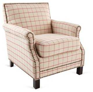 Taylor Club Chair, Beige/Red - One Kings Lane