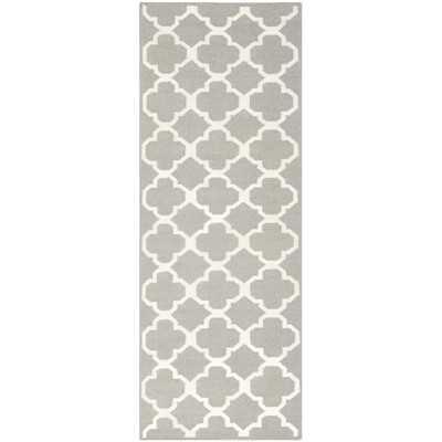 "Dhurries Grey/Ivory Area Rug - 2'6"" x 7' - Wayfair"