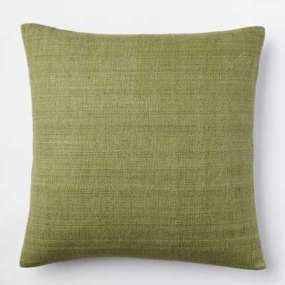 "Solid Silk Hand-Loomed Pillow Cover - Green Tea - 20"" square - Insert sold separately - West Elm"