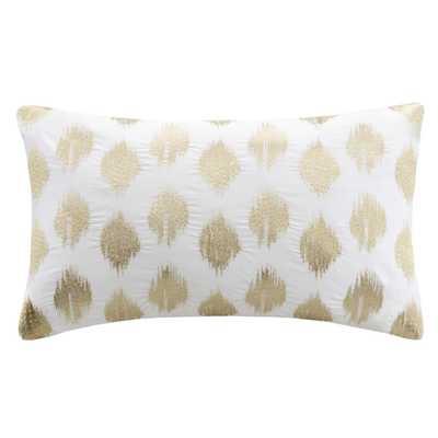 """Nadia Dot Embroidered Cotton Lumbar Throw Pillow, 12X18"""", Gold - Polyester fill - Wayfair"""