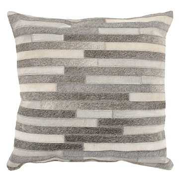 "Montara Hair On Hide Pillow 22""-Ivory/Grey- Feather/Down - Z Gallerie"