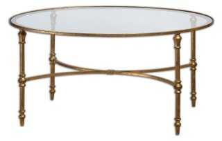 Benedict Round Coffee Table, Gold - One Kings Lane
