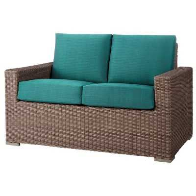 Heatherstone Wicker Patio Loveseat Turquoise - Target