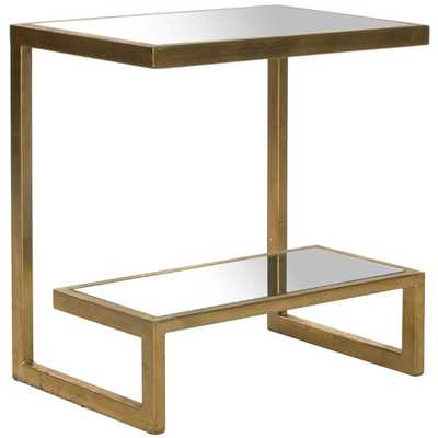 Kennedy End Table - Gold / White Glass - AllModern
