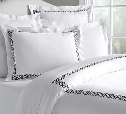 AVERY EMBROIDERED SATEEN DUVET COVER & SHAM - Pottery Barn