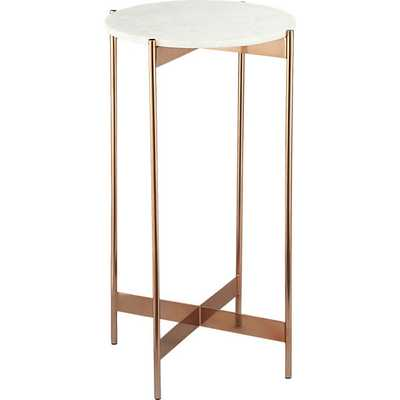 Marble-rose gold small pedestal table - CB2