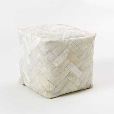 Pieced + Patched Cowhide Pouf - Square - West Elm
