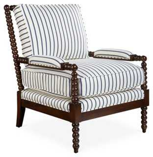 Bankwood Spindle Chair, Navy Stripe - One Kings Lane