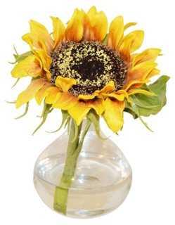 """8"""" Sunflower in Bubble Vase, Faux - One Kings Lane"""