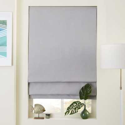 Linen/Cotton Roman Shade + Blackout Liner - Platinum - West Elm