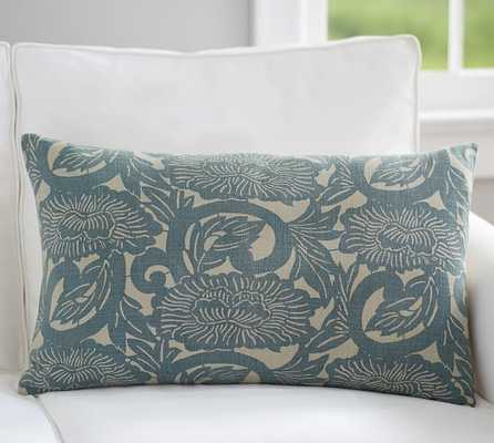 "SHIBORI FLORAL PRINT LUMBAR PILLOW COVER - 16"" x 26"" - Insert Sold Separately - Pottery Barn"