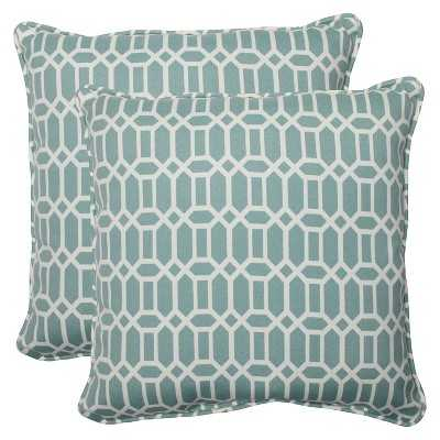 "Pillow Perfect Outdoor Square Throw Pillow Set of 2 - Rhodes-Blue- 18.5"" sq- Polyester insert - Target"
