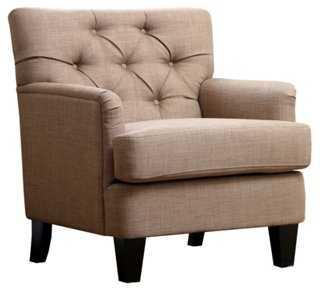 Carevilla Tufted Linen Club Chair - One Kings Lane